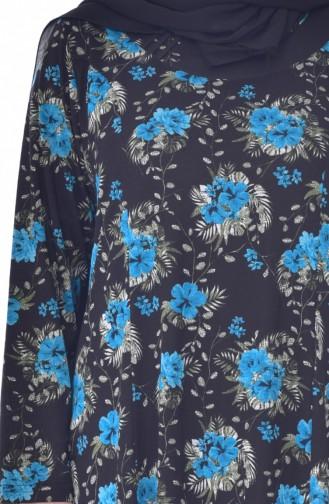 فستان بتصميم مُطبع بمقاسات كبيرة 4887-03 لون اسود وتركواز 4887-03