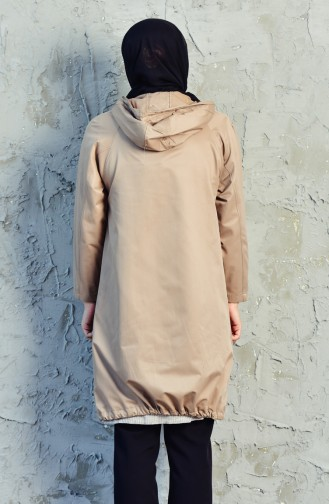 Hooded Zippered Trench Coat 6059-03 Beige 6059-03