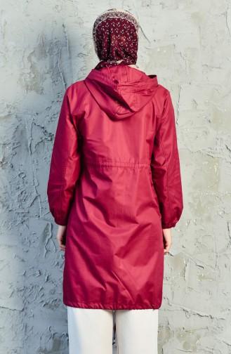 Trench Coat a Fermeture et Poches 6058-02 Bordeaux 6058-02