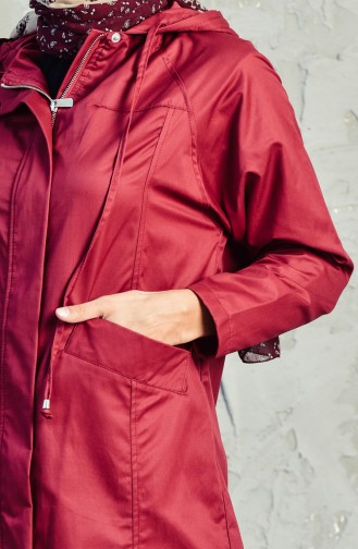 Hooded Zippered Trench Coat 6059-01 Bordeaux 6059-01
