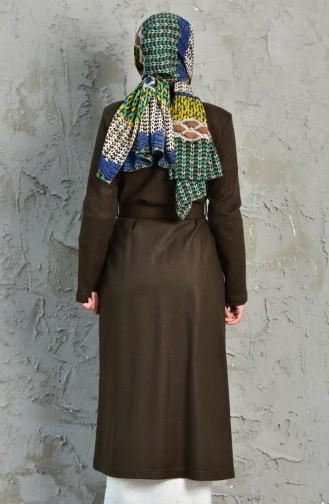 شوكران معطف بتصميم صوف 35854 A-04 لون أخضر كاكي 35854A-04
