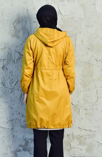 Pocket Zippered Trench Coat 6058-01 Mustard 6058-01
