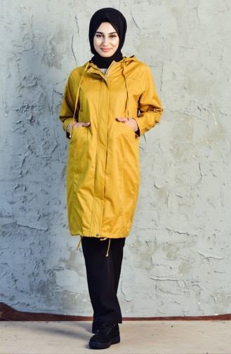 Hooded Zippered Trench Coat 6059-04 Mustard 6059-04