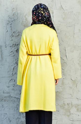 Knitwear Belt Pocket Cardigan 3198-04 Yellow 3198-04