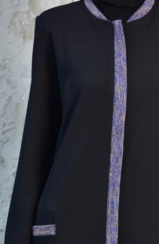 كاب مُخطط بتصميم مُحاك بتفاصيل لامعة  35862 A-01 لون أسود وأزرق 35862A-01