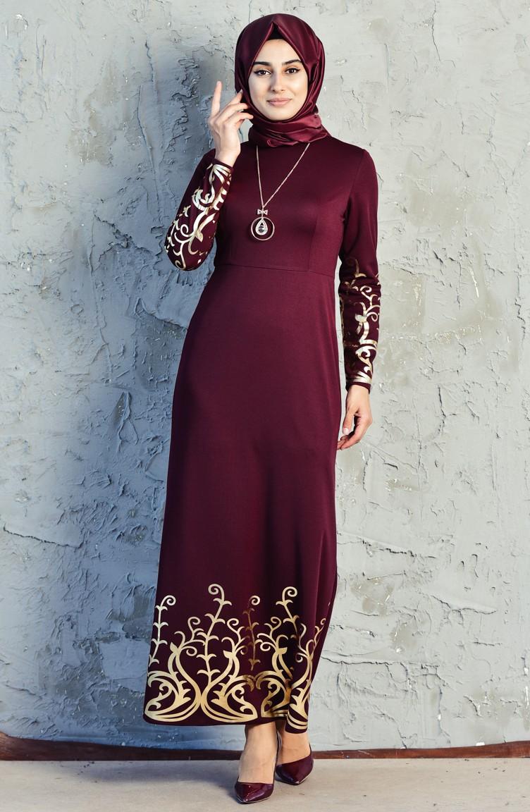 ff179c7994f11 Baskılı Elbise 3556-02 Bordo