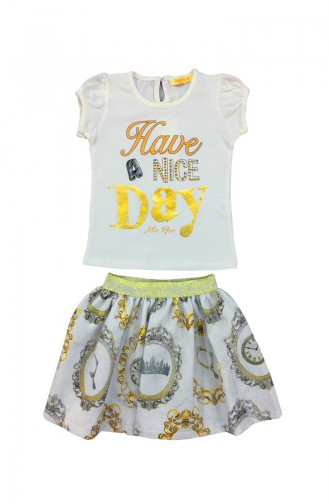 Kids Tshirt and Skirt Suit A4124-01 Beige 4124-01