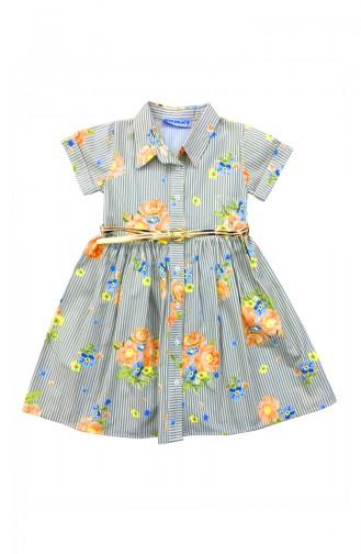 Light Green Kids Dress 6755-01