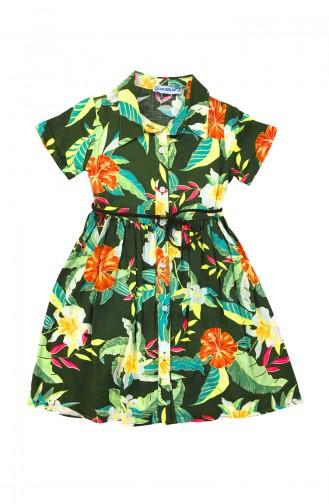 Floral Detail Shirt Dress A6758-01 Green 6758-01