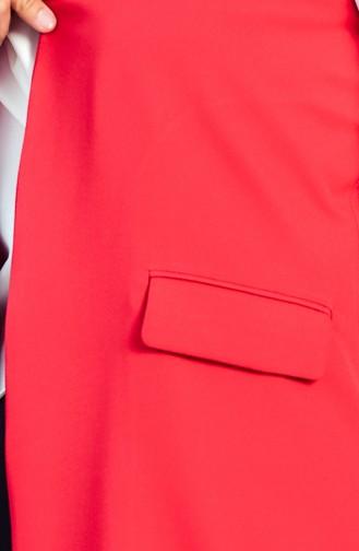 Cep Detaylı Yelek 6388-10 Kırmızı