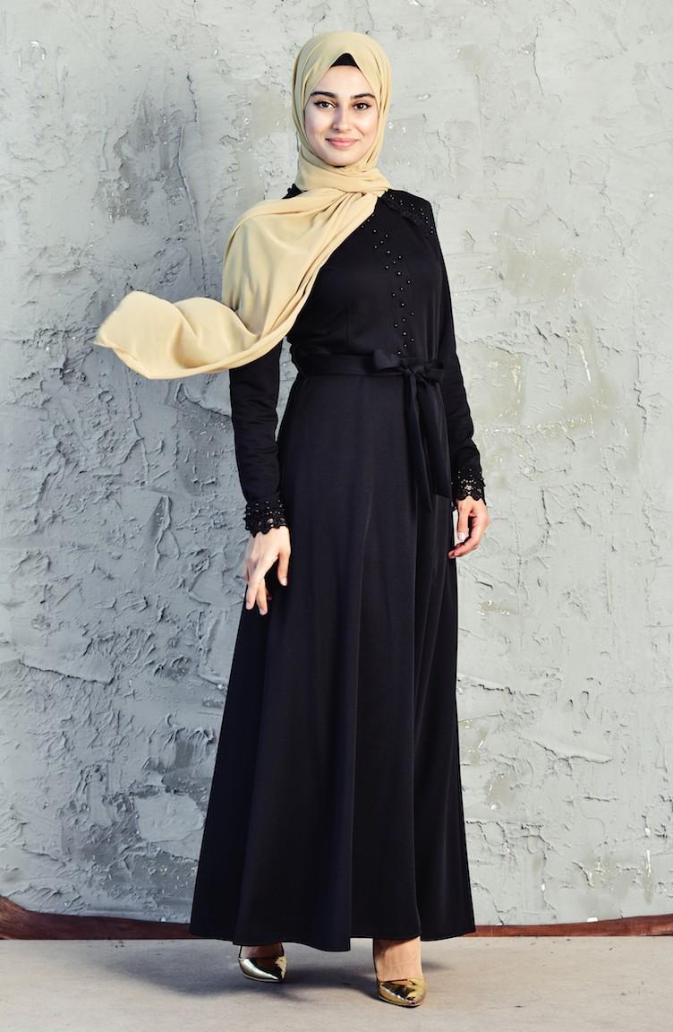 d40e4913c9920 İnci Detaylı Elbise 3549-01 Siyah