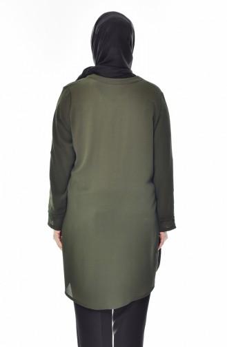 قميص بتصميم ياقة برباط و بمقاسات كبيرة  7258-01 لون أخضر كاكي 7258-01