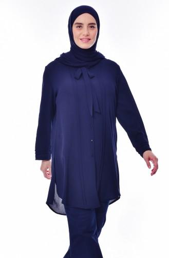 قميص بتصميم ياقة برباط و بمقاسات كبيرة 7258-04لون كحلي 7258-04
