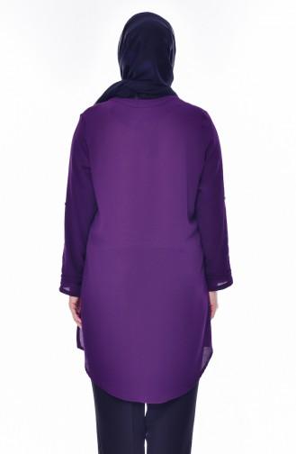 Large Size Tie Collar Shirt  7258-02 Purple 7258-02