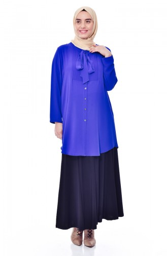 قميص بتصميم ياقة برباط وبمقاسات كبيرة  7105-03 لون أزرق 7105-03