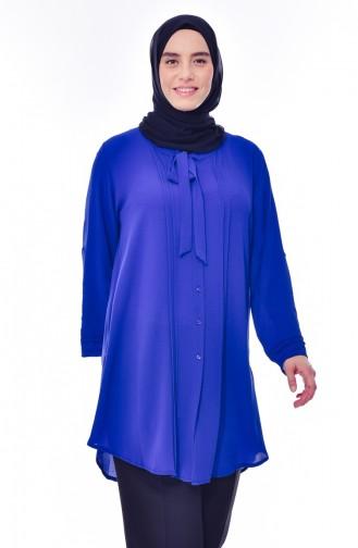 قميص بتصميم ياقة برباط و بمقاسات كبيرة 7258-03 لون أزرق 7258-03