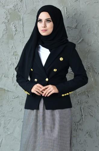 Düğmeli Ceket 6450-01 Siyah
