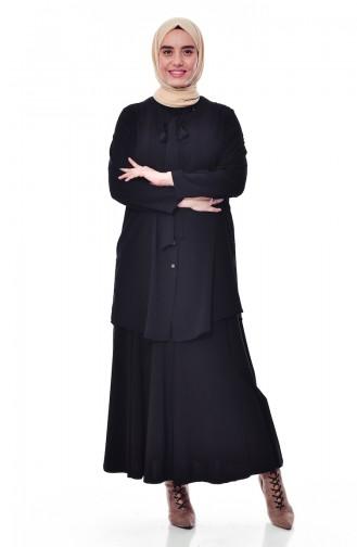 Büyük Beden Kravat Yaka Gömlek 7105-05 Siyah 7105-05