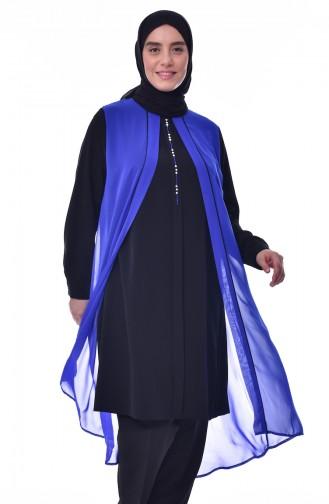 Tunique Asymétrique Grande Taille 1637-04 Noir Bleu Roi 1637-04