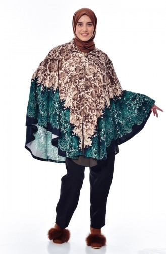 Plus Size Patterned Poncho 6002-01 Brown Emerald Green 6002-01