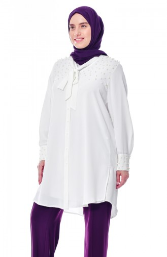 Large Size Pearls Shirt 7336-08 White 7336-08