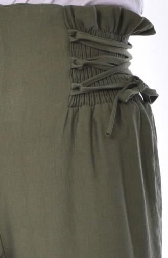Elastic Wide leg Pants  1706-03 Khaki 1706-03