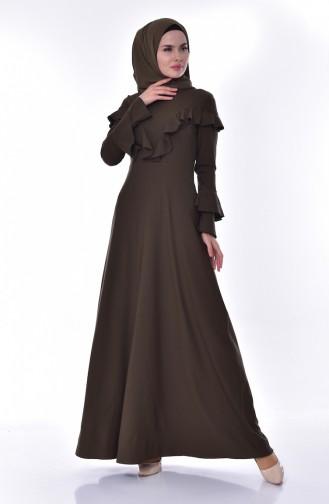 فستان بتفاصيل من الكشكش 6138-04 لون اخضر كاكي 6138-04