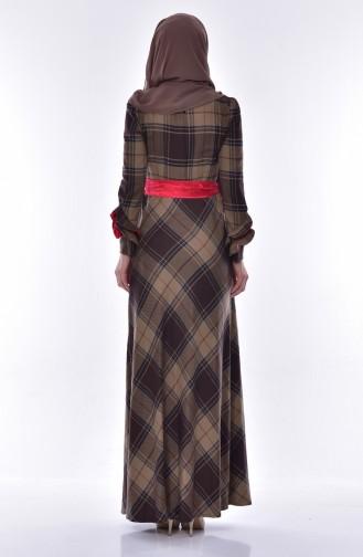 Ekose Desenli Elbise 2128-02 Kahverengi 2128-02