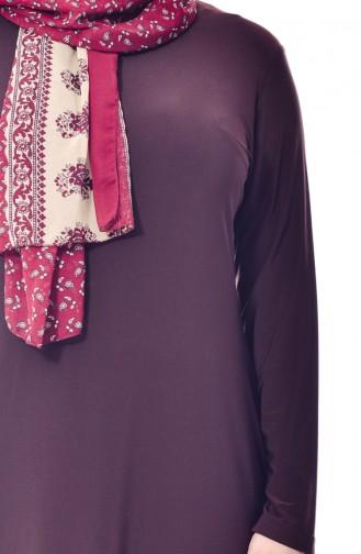 فستان بتصميم سادة بمقاسات كبيرة 1000-02 لون بُني 1000-02