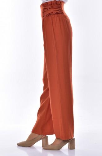 بنطال واسع بتصميم مطاط 1706-01 لون قرميدي 1706-01