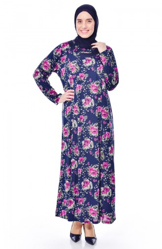 فستان بتصميم مُطبع بمقاسات كبيرة 4887-01 لون كحلي وارجواني 4887-01