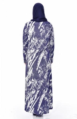 فستان بتصميم مُطبع بمقاسات كبيرة 4145-01 لون كحلي 4145-01