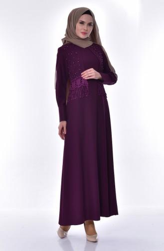فستان بتفاصيل من الدانتيل والؤلؤ 1502-01 لون بنفسجي 1502-01