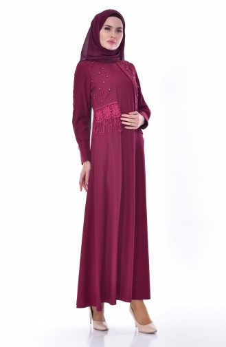 فستان بتفاصيل من الدانتيل والؤلؤ 1502-03 لون ارجواني داكن 1502-03