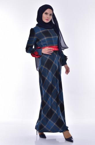 Ekose Desenli Elbise 2128-04 Petrol 2128-04