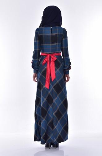فستان بتصميم كروهات 2128-04 لون بترولي 2128-04