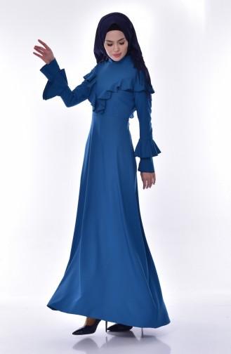 فستان بتفاصيل من الكشكش 6138-03 لون بترولي 6138-03