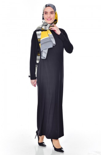 فستان بتصميم سادة بمقاسات كبيرة 1000-03 لون اسود 1000-03