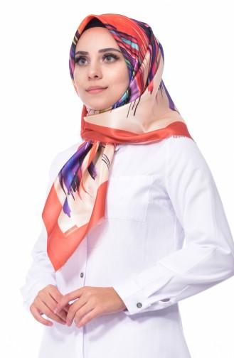 Dijital Baskılı Tafta Eşarp 95224-04 Turuncu 04