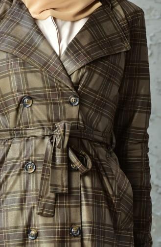 Plaid Patterned Belted Cap 8011-03 Mink 8011-03