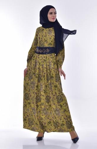 Dijital Baskılı Elbise 2004-01 Yağ Yeşili 2004-01