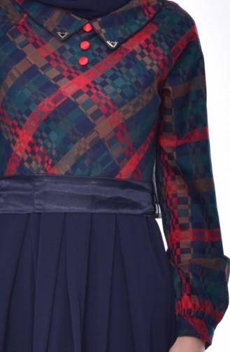 Robe Garnie a Ceinture 2142-01 Vert Bleu Marine 2142-01