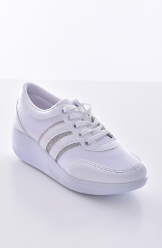 Beyaz Rugan Sport Shoes 0116-09