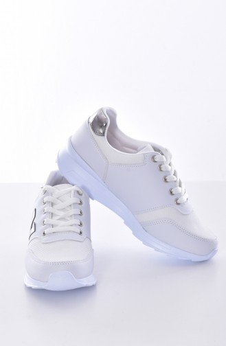 White Sport Shoes 0777-03