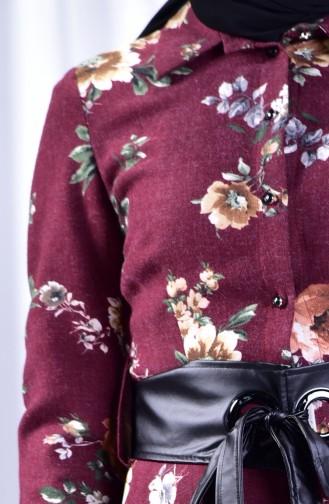فستان بتصميم مورّد 2961-02 لون خمري 2961-02