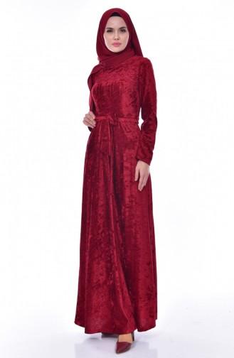 فستان مخمل يتميز بتفاصيل من الؤلؤ 3033-03 لون خمري 3033-03