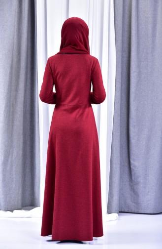 Leather Detail Dress 1520-03 Bordeaux 1520-03