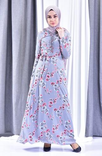 Patterned Crepe Dress 3359-03 Gray 3359-03