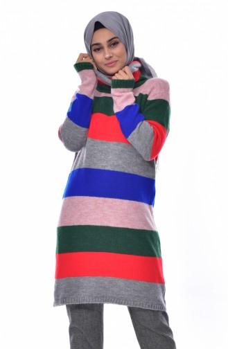 ايلميك تونيك تريكو بتصميم مُخطط 4087-01 لون رمادي 4087-01