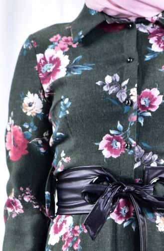 فستان بتصميم مورّد 2961-01 لون اخضر كاكي 2961-01